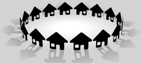 A bright ring of house symbols form a symbolic community of homes as a group. Vector