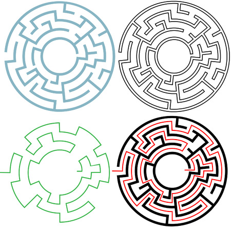 versions: A circle maze in 3 puzzling 3 variations, with separate solution, easy to edit to make your own versions. Copyspace in the center.
