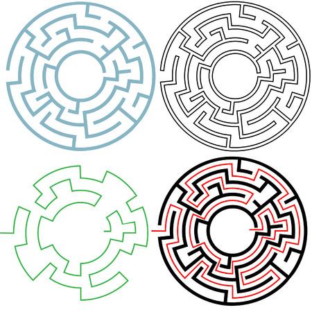 puzzelen: Een cirkel doolhof in 3 puzzelen 3 varianten, met aparte oplossing, gemakkelijk te bewerken om uw eigen versies. Copyspace in het midden.