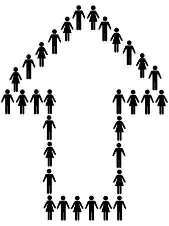 チームのグループの男性と女性のシンボル人々 を進歩と成功を指す矢印で。