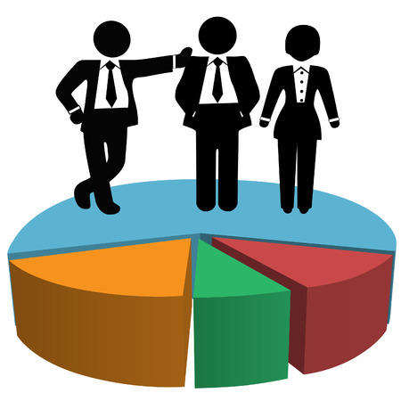 salespeople: Symbols of a team of 3 Sales people own big market share on a business pie chart.