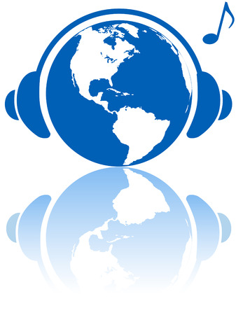 The western hemisphere wears world headphones to hear Earth music world with musical note and reflection