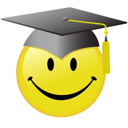 commencement: A happy smiley face graduate in a graduation day mortar board cap. Illustration