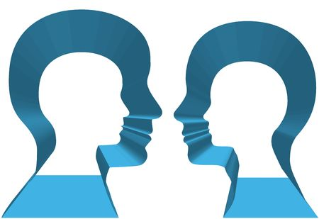Inner selves of a couple of people in 3D profile face off. Stock Photo