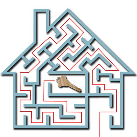 seeking solution: A real estate maze home puzzle with solution leading to a brass house key, with drop shadow.