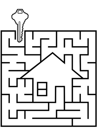 A real estate home finder maze home puzzle with a house key at the entrance.