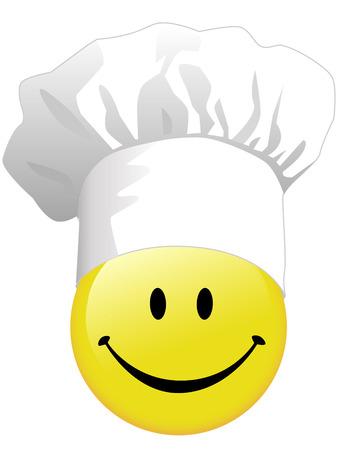 행복 한 요리사 모자에서 요리하는 웃는 얼굴의 기쁨.
