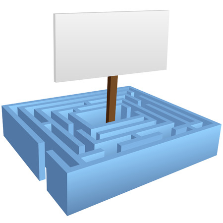 puzzling: A puzzling blue maze with a copyspace background at the center solution.