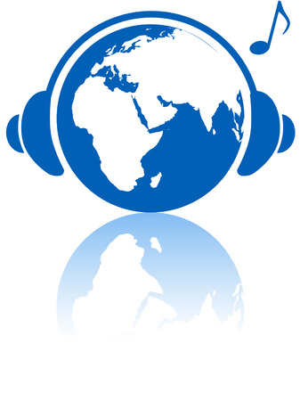 The Eastern hemisphere wears headphones to hear Earth music world with musical note and reflection. Illusztráció