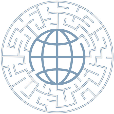 lost world: A globe in a radial maze as a Puzzling World symbol. Illustration