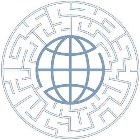 puzzelen: Een wereldbol in een radiale doolhof als een raadselachtige wereld symbool. Stock Illustratie