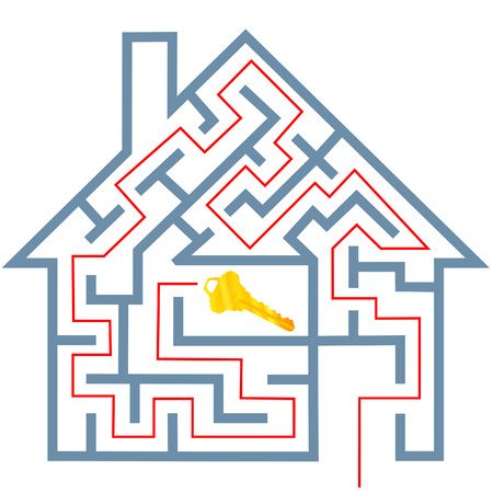 A solution to a real estate home maze puzzle to gold house key. Vector