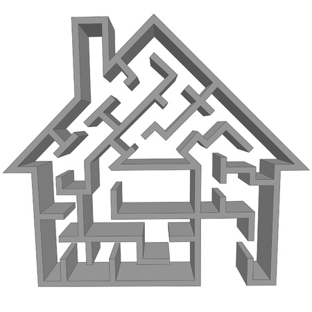 A maze house ss a symbol of the real estate hmse hunting puzzle. Vector