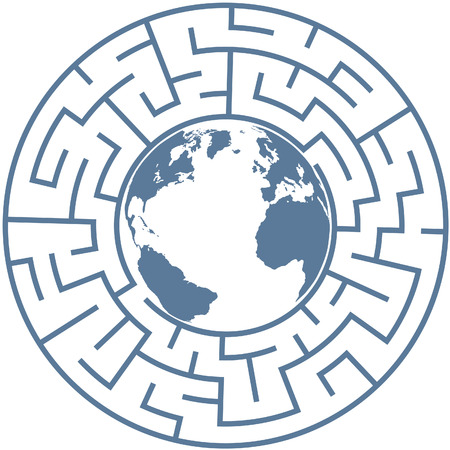 Planet Earth inside a radial maze as a symbol of puzzling world problems. Vector
