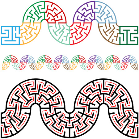 horizontally: Travel the puzzling winding snake mazes, they tile horizontally for use as borders, frames, brushes, patterns, more.  Illustration