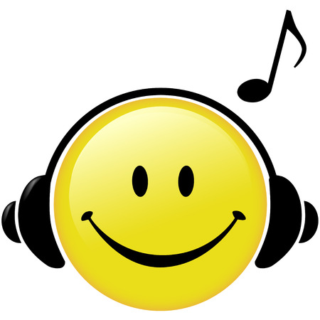 A happy Smiley Face button wears Headphones and a Musical Note symbol shows he is listening to music. Vector