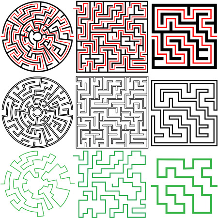 A set of 3 maze puzzles with solutions and in variations of solid and outline. 版權商用圖片 - 4261065