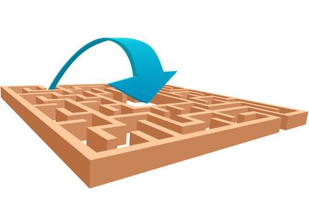An arrow arches into the center of a maze as a direct solution. Vector