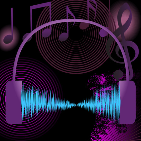 A high volume abstract music background uses audio waveform, notes, grunge, and other musical design elements. Vector
