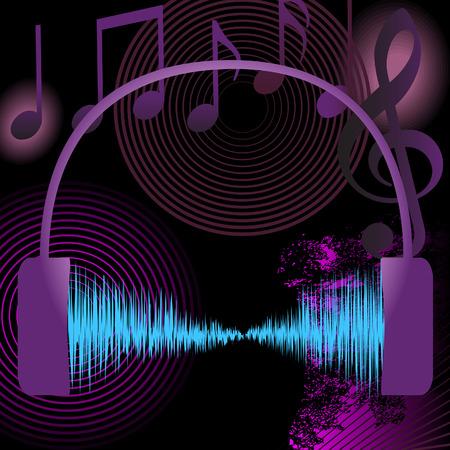 Een hoog volume abstracte achtergrond muziek gebruikt audio golfvorm, notities, grunge, en andere muzikale design elementen. Stock Illustratie