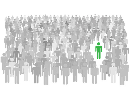 One colorful individual person stands out from large diverse crowd of gray symbol people. Illustration