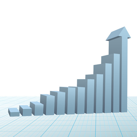 A high rise 3D Financial Bar Chart on graph paper with up arrow predicting success and growth.