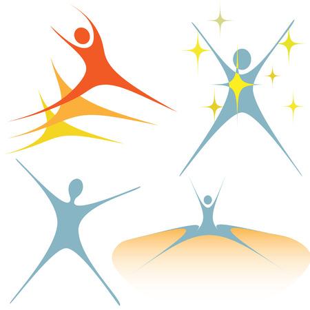 salti: Una serie di elementi di design simbolo persone incarnano l'entusiasmo, l'attivit�.