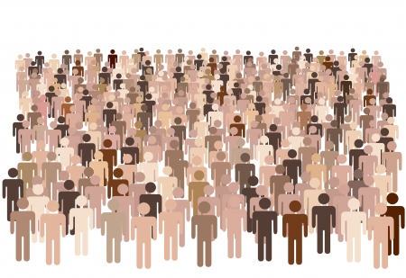 large: Crowd scene - a large group of many diverse symbol people isolated on white. Illustration