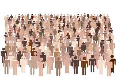 folla: Folla scena - un grande gruppo di persone diverse simbolo isolato su bianco.