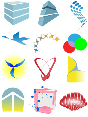A varied set of colorful design elements or icons.