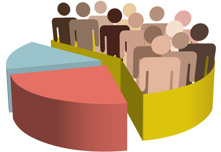 voters: A chart with a diverse group of people as symbols of majority, population, team, market, customers, audience, voters.