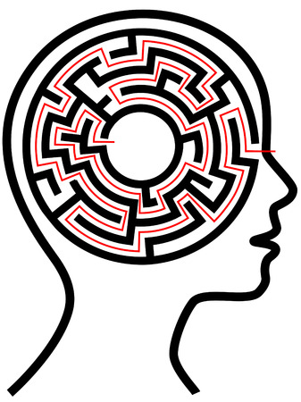 A circle radial maze puzzle as a brain in a profile persons head outline.