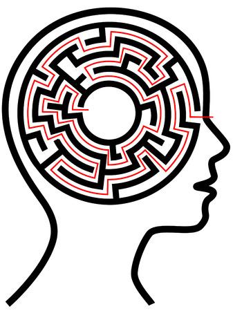 mental object: Un c�rculo radial laberinto rompecabezas como un cerebro en un perfil de la persona cabeza de contorno.