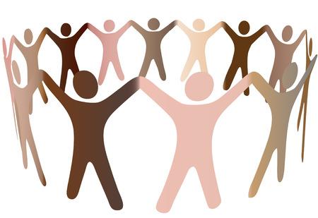 bras lev�: Human skintones joindre les mains et se m�langent dans un cercle de personnes multiculturelle. Illustration