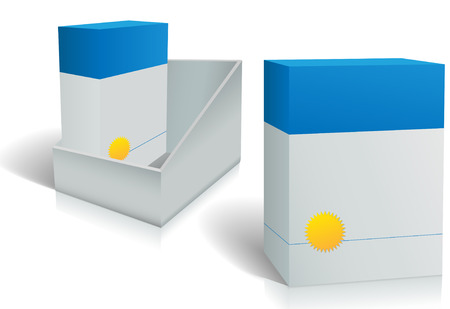 Two software product boxes in open box designCopyspace for your product namea on two cartons and carton holder.  向量圖像