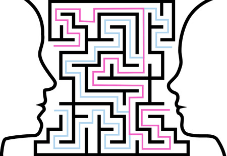 confusing: A couple of people communicate to solve a maze of love or other problems in a puzzle. Illustration