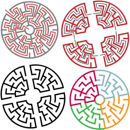 Variaties van de Circle en Arc Doolhof Puzzel Delen, met oplossing, kleuren, in delen. Stock Illustratie