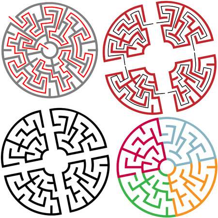 seeking solution: Variations of Circle and Arc Maze Puzzle Parts, with solution, colors, in parts.