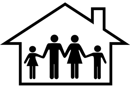 family isolated: A traditional family mom dad boy girl safe at home in their house. Illustration