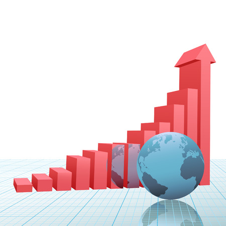 A 3D Financial Bar Chart on graph paper with up arrow predicting success and growth and earth reflected. Vector