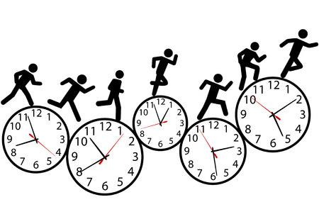 time of the day: A person or people in a hurry run a day long race against time on clocks.