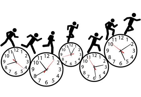 La persona o las personas con prisa el día corren un carrera contra el tiempo en los relojes.