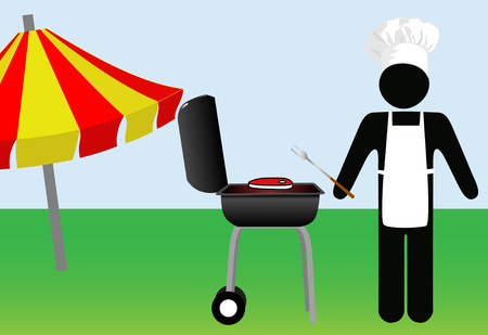 Symbol Man chef grills steak at a summer cook out on a Barbecue on his lawn. Copyspace on his apron. Illustration