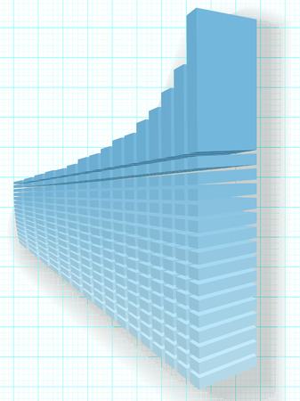 marketshare: A high rise 3D Financial Bar Chart on a solid foundation of data as a basis for predicting success and growth.