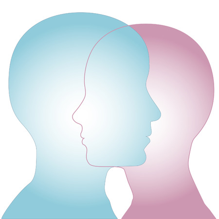 Profiles of a couple of people merge as overlapping faces to illustrate and gender issues. Vector