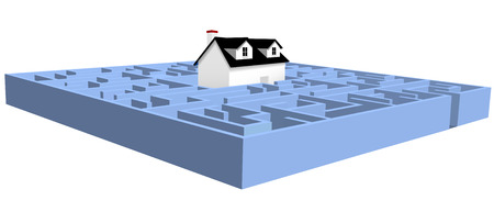 A black and white house in a blue real estate maze home puzzle. Ilustração