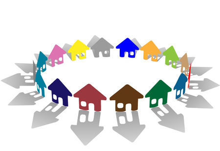 A bright colorful ring of house symbols form a symbolic community of homes as a group. Ilustração