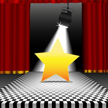 spotlights: Un brillante estrella como copyspace en el centro de atenci�n en un escenario con un disco de estilo tablero de ajedrez con piso de baldosas rojas las cortinas. Vectores