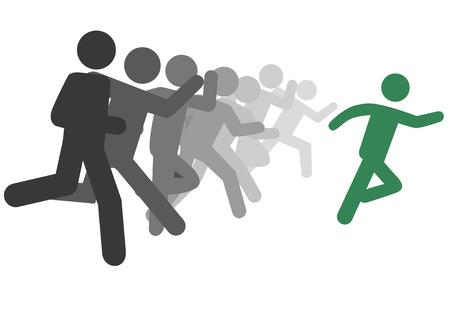 Een symbool persoon leider en een groep volgelingen draaien als een team of om te concurreren en te slagen. Stock Illustratie