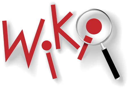 wiki wikipedia: Wiki to search and find information with red dot copyspace magnifying glass and shadows.